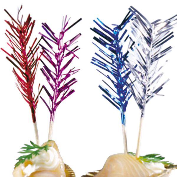 Party-Picker Palmwedel Spikes, metallic-bunt