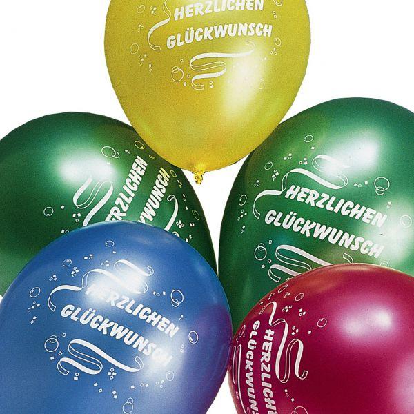 Luftballons Herzlichen Glückwunsch metallic, bunte Mischung