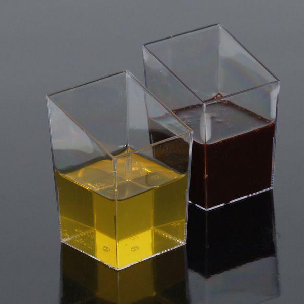 Fingerfood Buffet-Minibecher, eckig, schräg, transparent