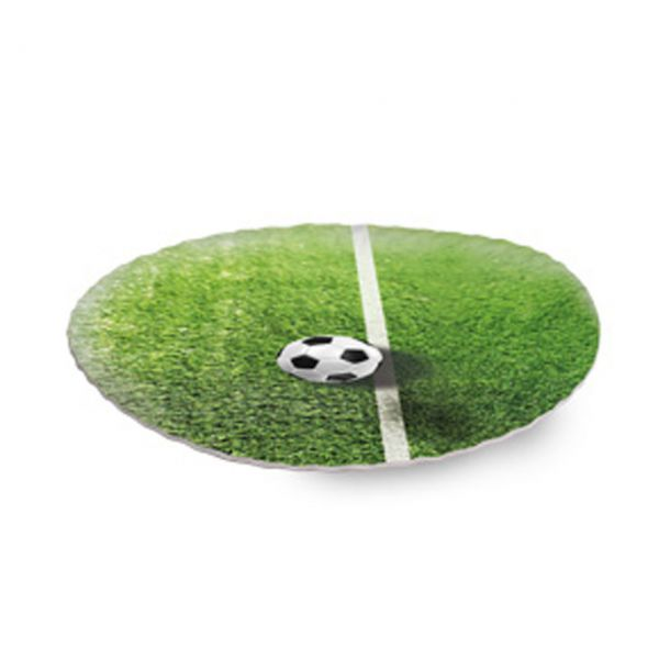 Pappteller Fußballrasen, grün-weiß
