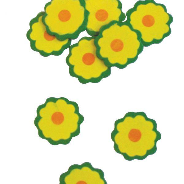 Streudeko Holz-Konfetti Blüte, grün-gelb-orange