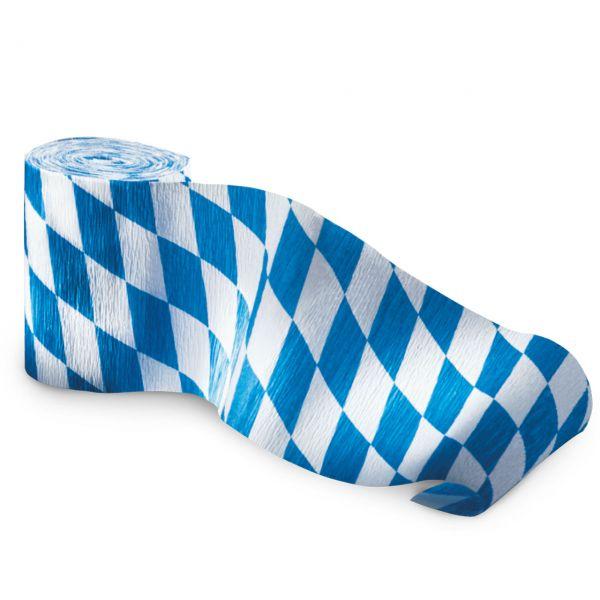 Kreppband Bayern Oktoberfestdeko, weiß-blau