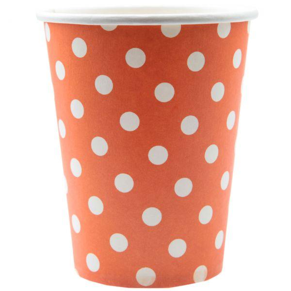Papp-Trinkbecher weiße Punkte, orange