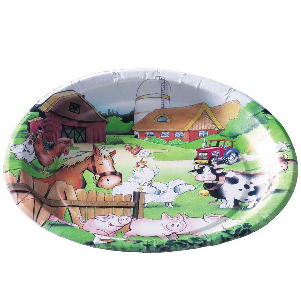 Pappteller Bauernhof, bunt