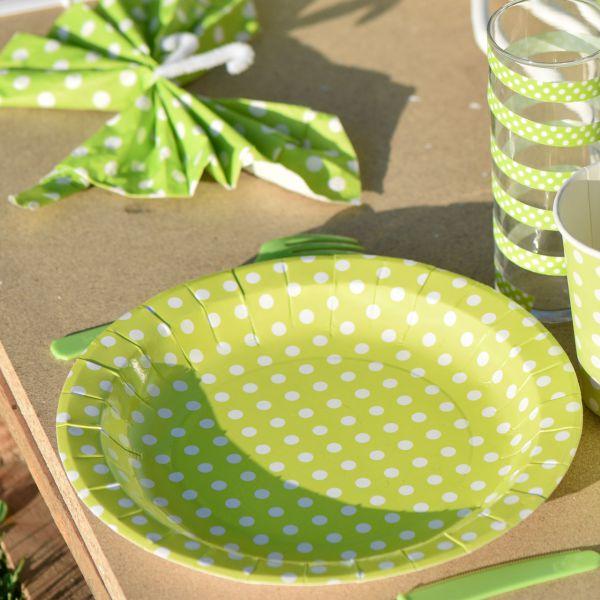 Pappteller weiße Punkte, grün