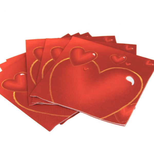 Servietten Herz, rot-gold