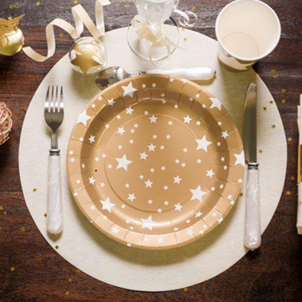 Tischset rund 10 Stück, creme
