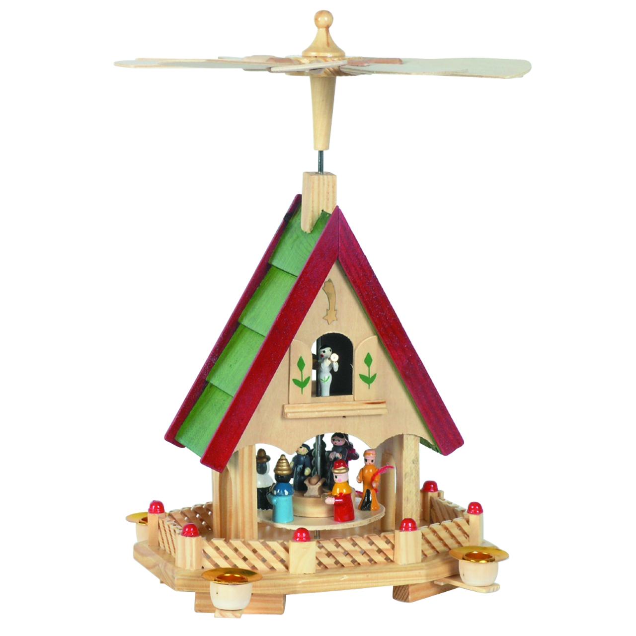 weihnachts pyramide in hausform krippenszene. Black Bedroom Furniture Sets. Home Design Ideas