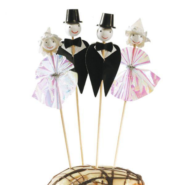 Party-Picker Brautpaar, weiß-schwarz