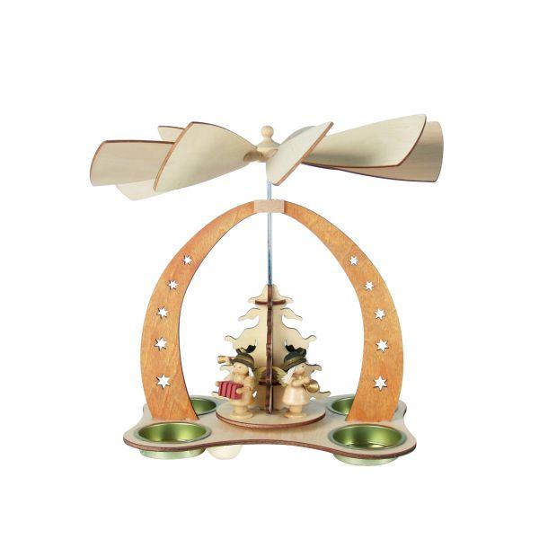 Kleine Weihnachts-Pyramide musizierende Engel, natur