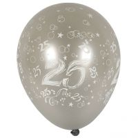 Luftballons 25 metallic, silber