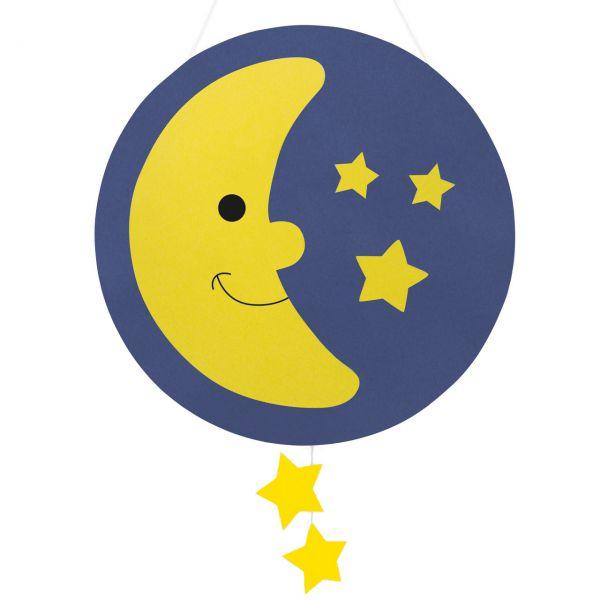 Bastelset Kinderlaterne Mond, blau-gelb