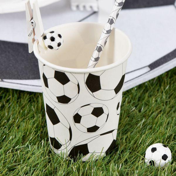 Papp-Trinkbecher Fußball,schwarz weiß