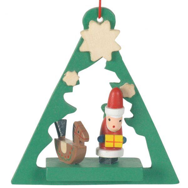 Anhänger Baum mit Santa Claus, Holz farbig