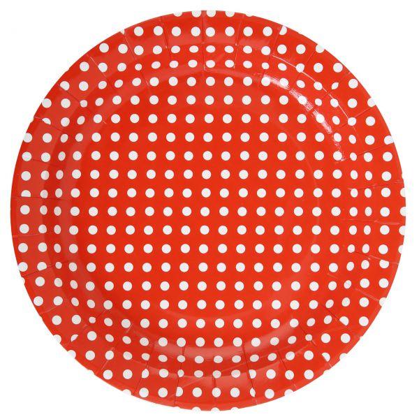 Pappteller weiße Punkte, rot