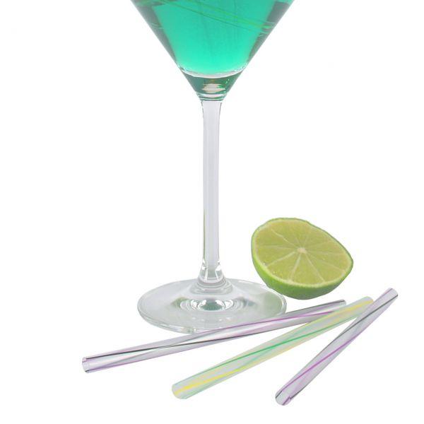 Jumbo Cocktail Strohhalme kurz, transparent gestreift