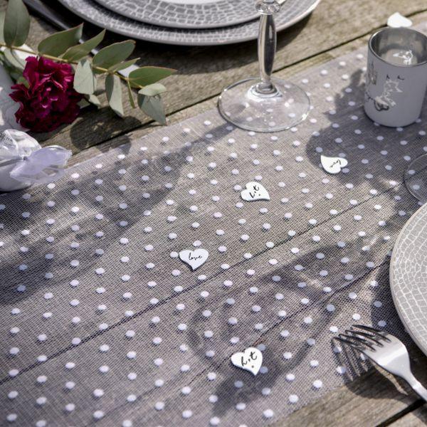 Tischläufer Pünktchen B: 30 cm, weiß