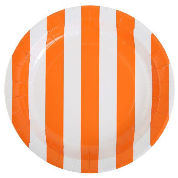 Pappteller weiße Streifen, orange