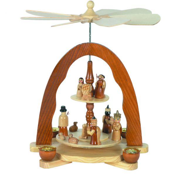 Weihnachts-Pyramide Hl. Familie und Hl. drei Könige, natur