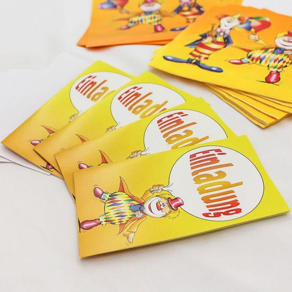 Einladungskarten Clown, bunt