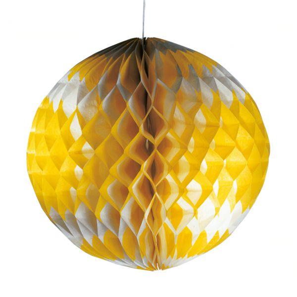 Wabenball 30cm, gelb-weiß