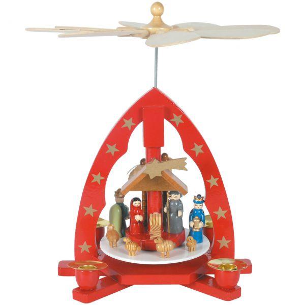 Weihnachts-Pyramide Hl. Familie und Hl. drei Könige, rot