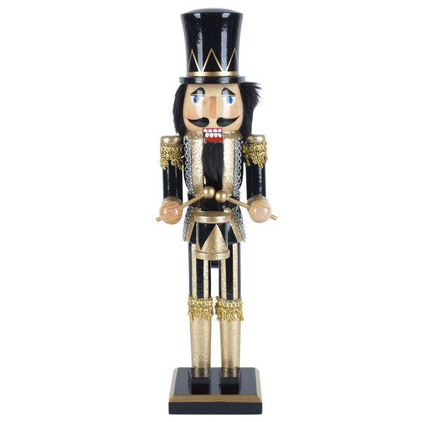 Nussknacker Trommler 38cm, schwarz-gold