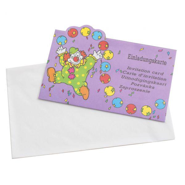 Einladungskarten Clown international, bunt