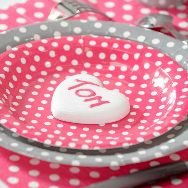 Pappteller weiße Punkte, pink