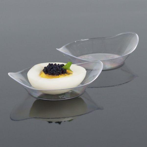 Fingerfood Buffet-Minischale, oval-gewellt transparent