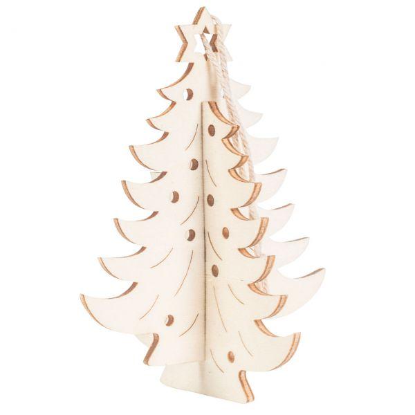 Anhänger 3D Tannenbaum, Holz