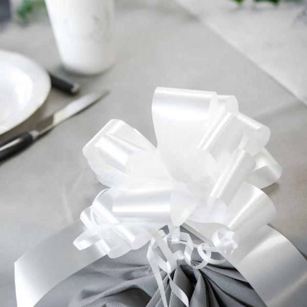 Automatik Ziehschleife XL, glänzend, weiß