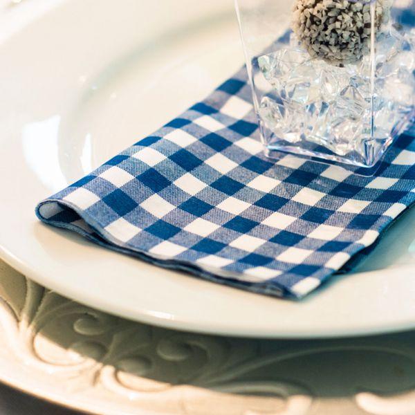 Einweg-Serviette Baumwolle, Country blau-weiß