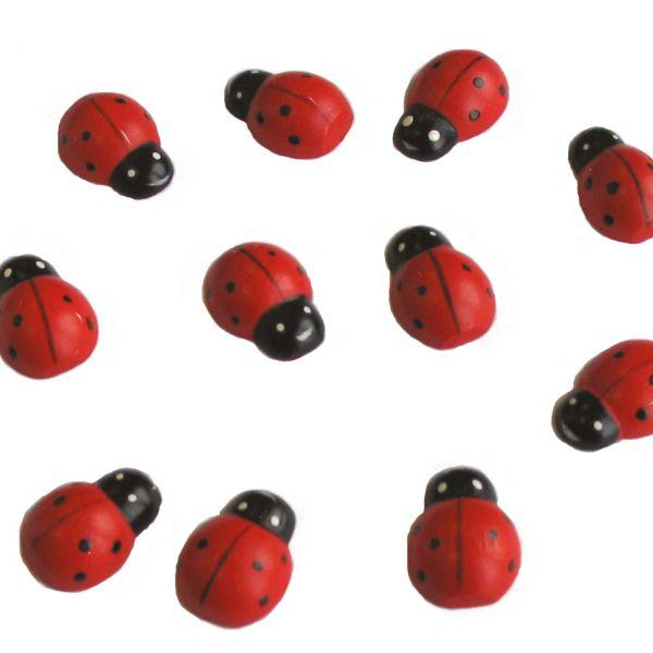 Streudeko Holz-Konfetti Marienkäfer klein, rot-schwarz