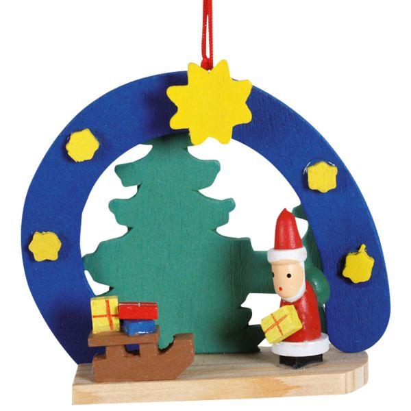Anhänger Halbmond mit Santa Claus, Holz farbig