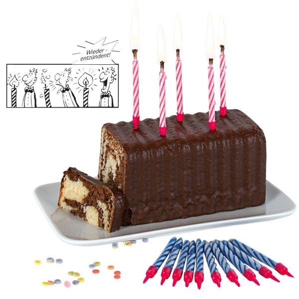 Magische Geburtstagskerzen mit Halter, bunt gemischt