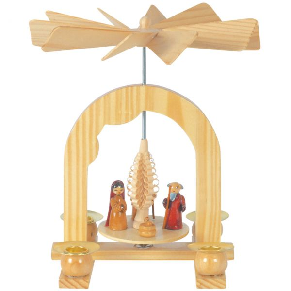Kleine Weihnachts-Pyramide Krippenszene, natur
