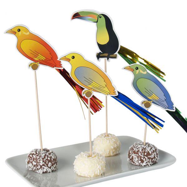 Party-Picker Vögel, bunt, metallic