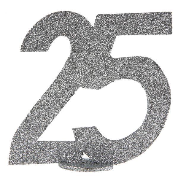 Geburtstagszahl 25, silber glitzernd