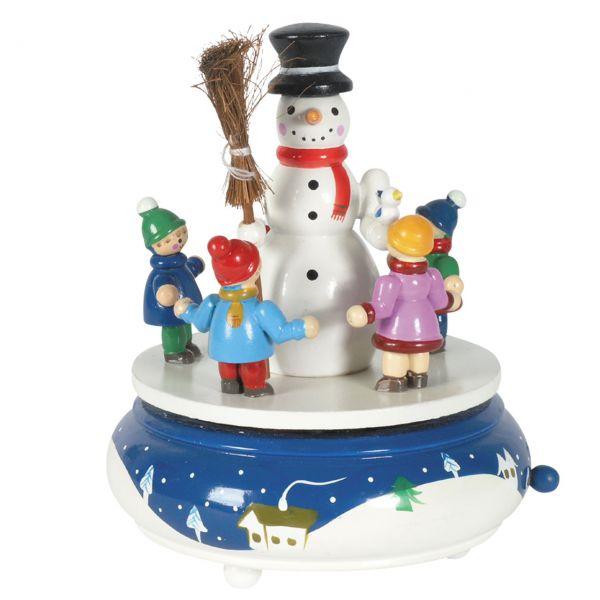 Spieluhr Schneemann mit Kindern, weiss
