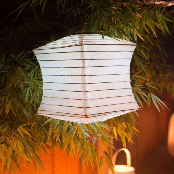Solar LED-Laterne, wetterfest, Würfel, sandhell