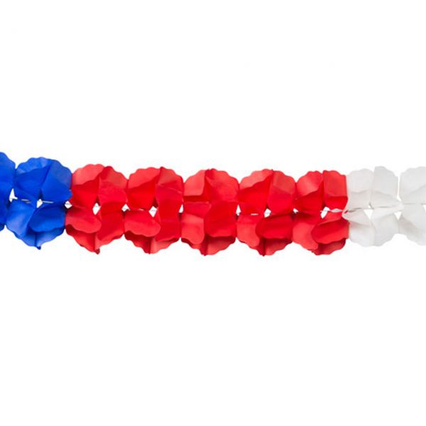 Girlande 3D, weiß-blau-rot