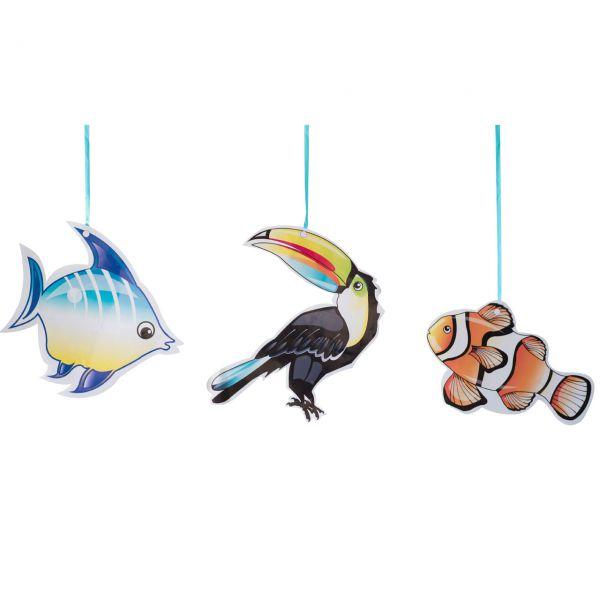 Hänge-Dekoration Tucan, Fische tropical, bunt