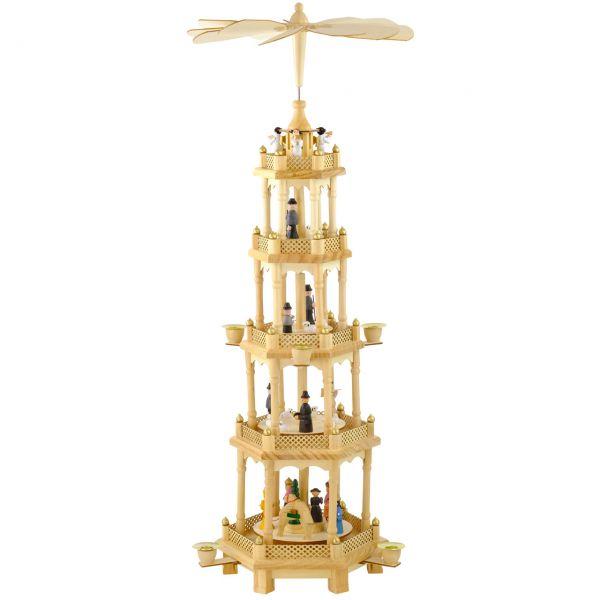 Sehr Große Weihnachts-Pyramide, 5 Etagen, Naturtöne