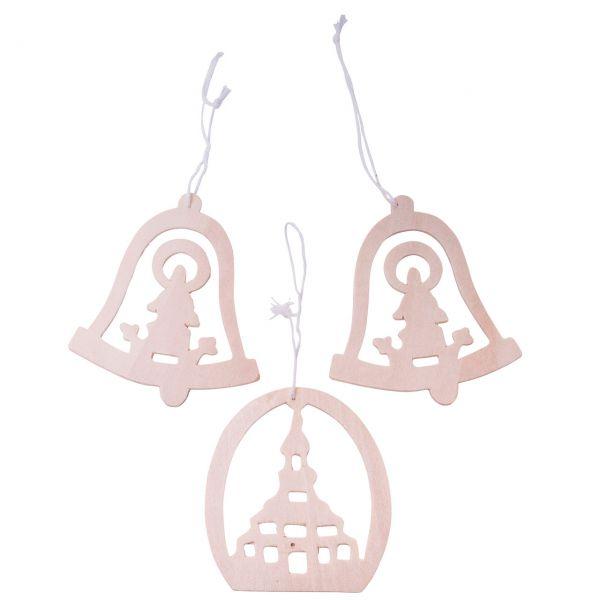 Anhänger Glocken und Bogen, Holz