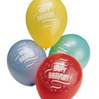 Luftballons Happy Birthday pastell, bunte Mischung