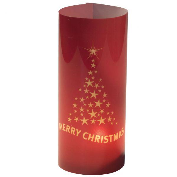 Windlicht Frohe Weihnachten, rot-gold