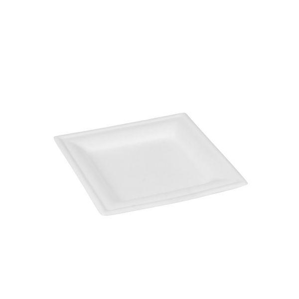 Zuckerrohr Teller quadratisch 16 x 16 x 1 cm, weiß