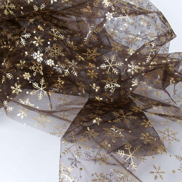 Organza Schneeflocke, gold-silber-schwarz