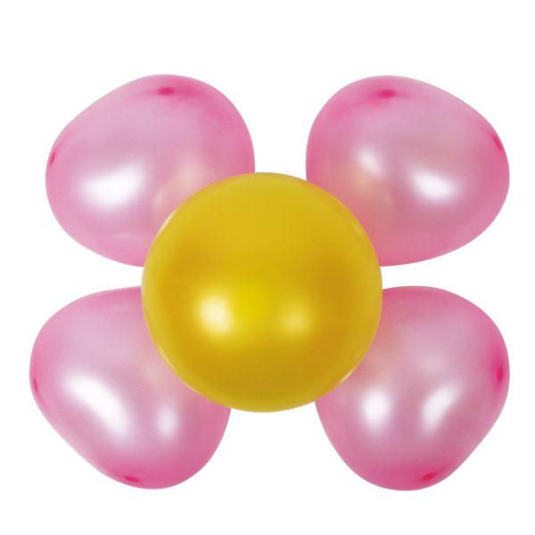 Luftballon Dekoset 2 Blumen, pink-gelb